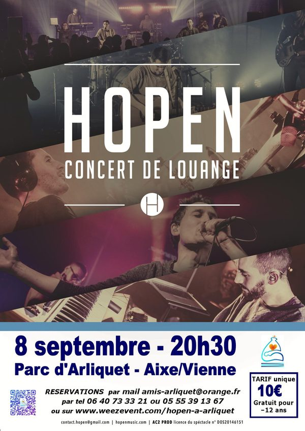 concert pop-louange groupe HOPEN le 8 septembre 2018, 20h30 parc d'Arliquet, Aixe-surVienne